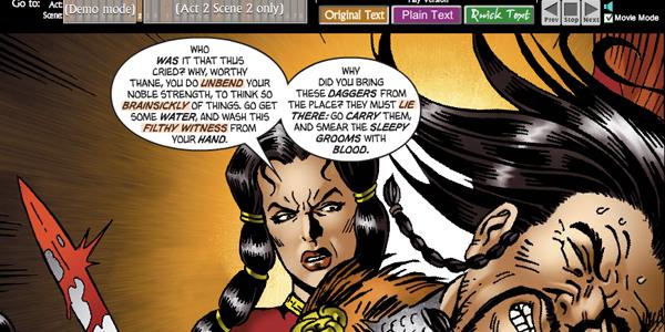 Macbeth Motion Comic as E-learning Scenario Model
