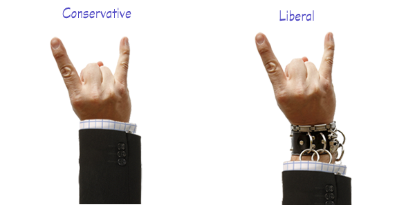 Sign of the horns - conservative vs liberal