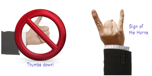 Elearning slide makeovers - thumbs up and sign of the horns